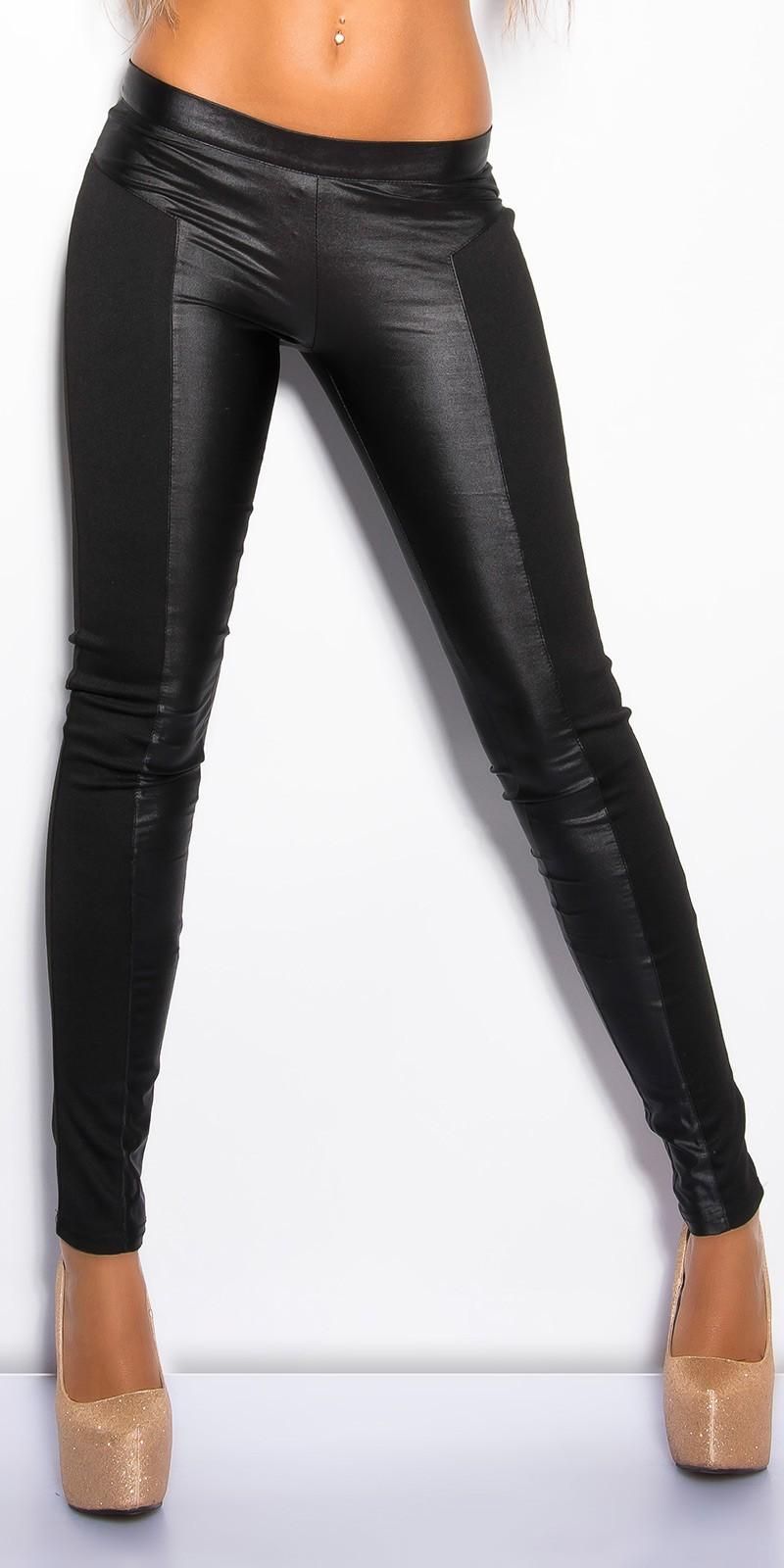 Fényes fekete betéttel kombinált fekete női nadrág (S 00e3ff72bd