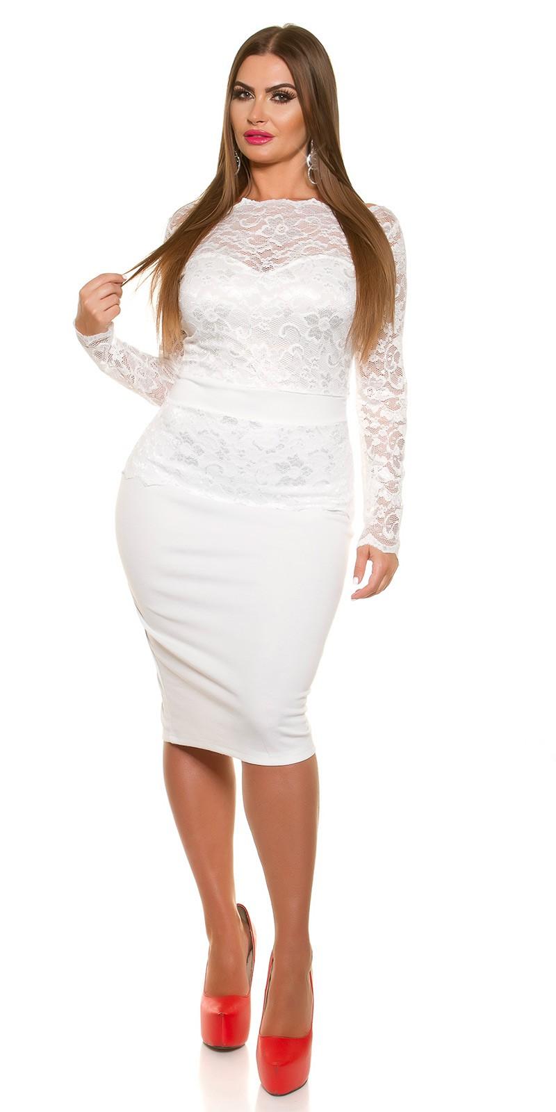 Hosszú ujjú midi női ruha csipkével - Fehér (46) empty b9205dfa35