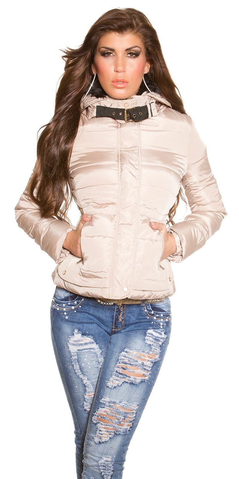 54906f9602be Csinos szőrmés kapucnis télikabát - Bézs (XXL). Az Ön értékelése: