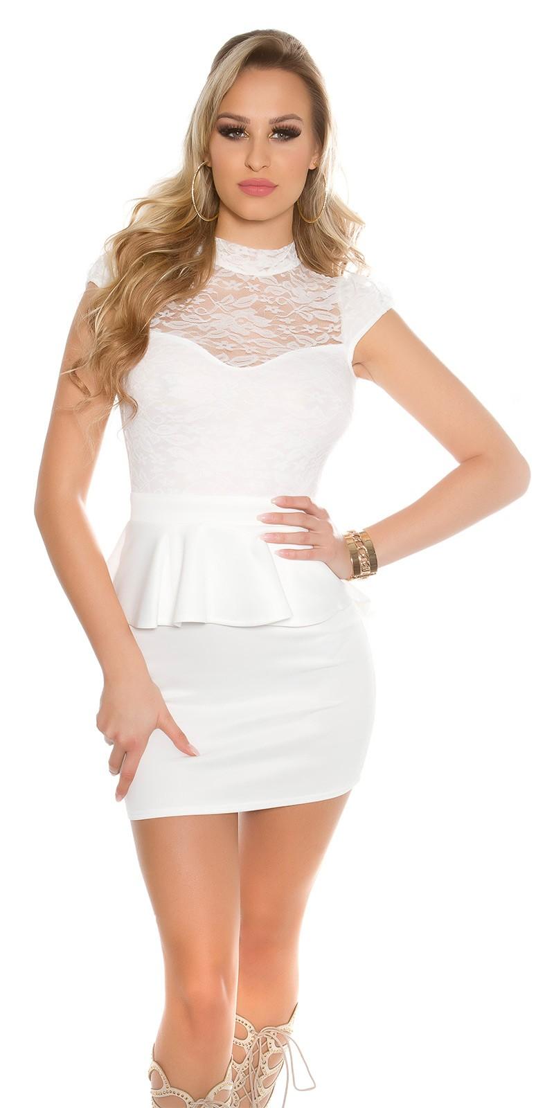 Nyitott hátú csipke felsős peplum női alkalmi ruha - Fehér (S-M) a1d5f423ce
