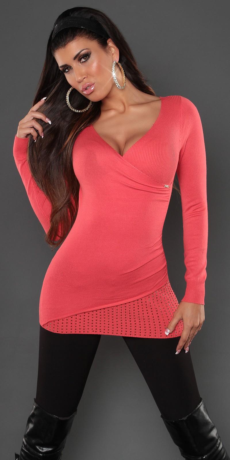 Strasszos masnis szexi dekoltázsú női pulóver felső - Több szín S M  Szállítási idő  5-10 nap 1795a21c9c