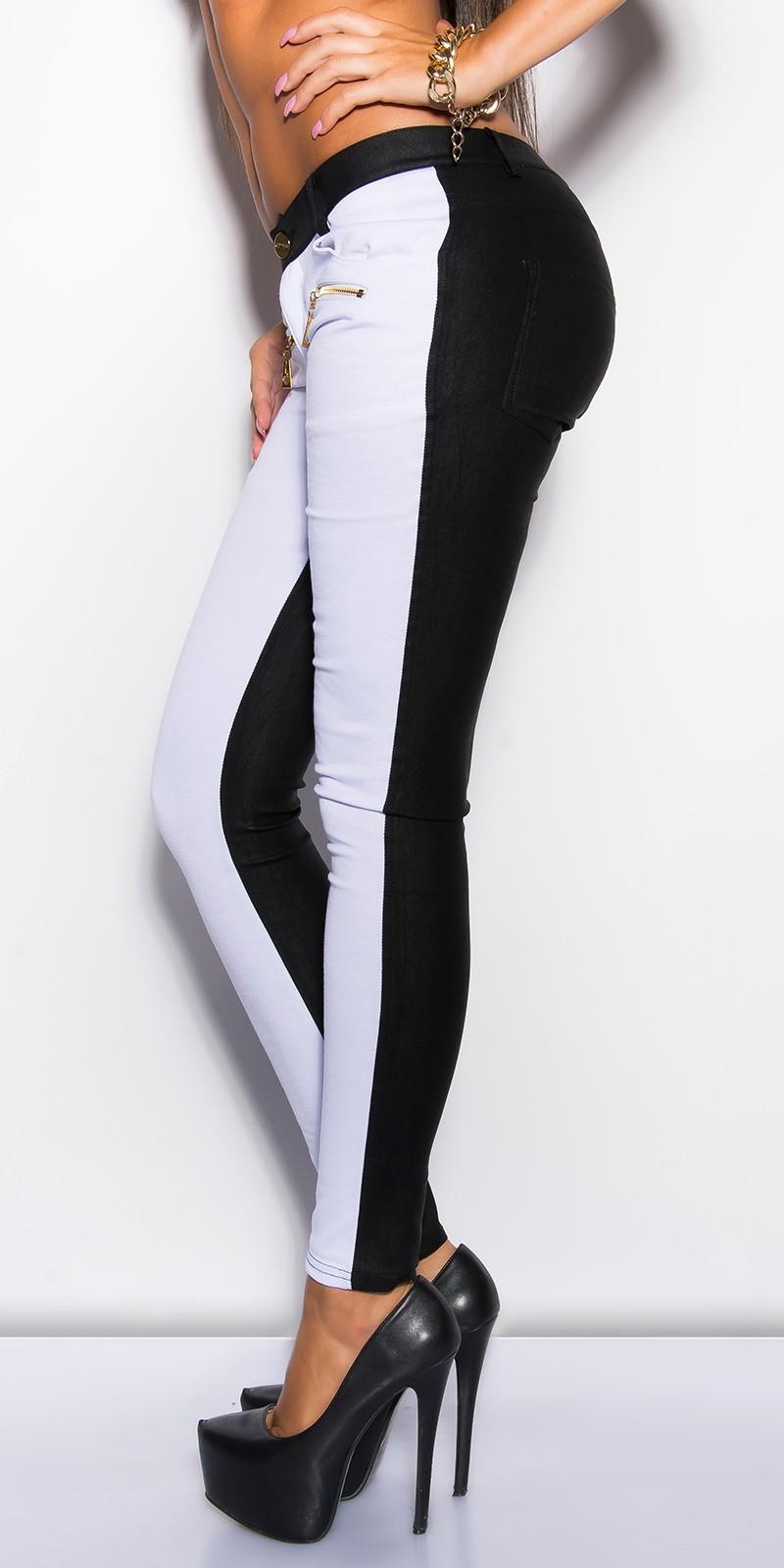2cf8383a4a NŐI RUHA   Fekete-fehér skinny női nadrág - (S,XL)   Mysticfashion ...