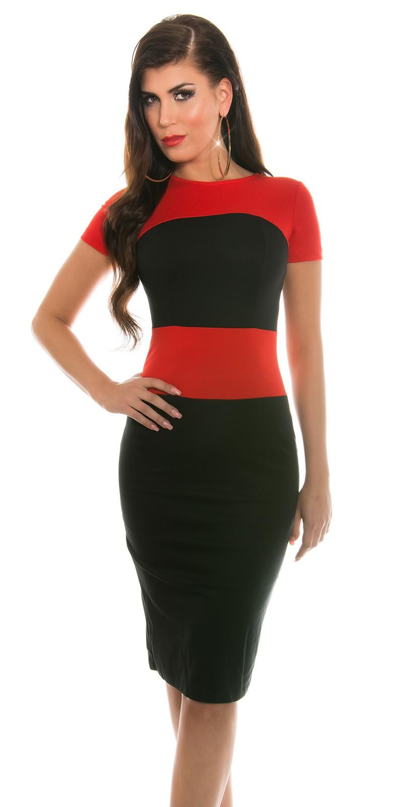 51952465a5 Két színű ceruza szoknyás női ruha - Piros (38,40)   Mysticfashion ...