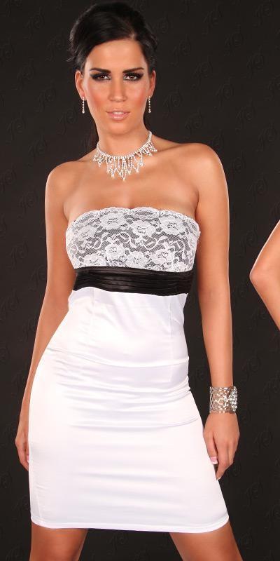 7a6370be26 Csipkés mellrészű koktélruha alkalmi ruha - Fehér (36-42 ...