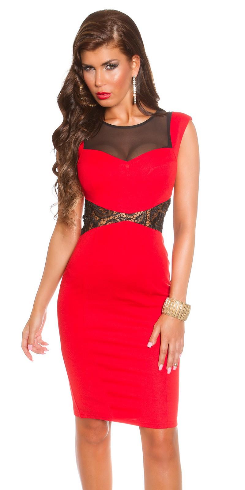 7d040614a8 Szexi csipke-háló betétes női ruha - Piros (36-42) | Mysticfashion ...