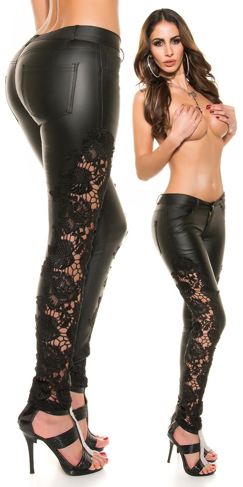 Csipkés fekete bőrhatású női nadrág - (XS-XL) Szállítási idő  5-10 nap 220c5ada23