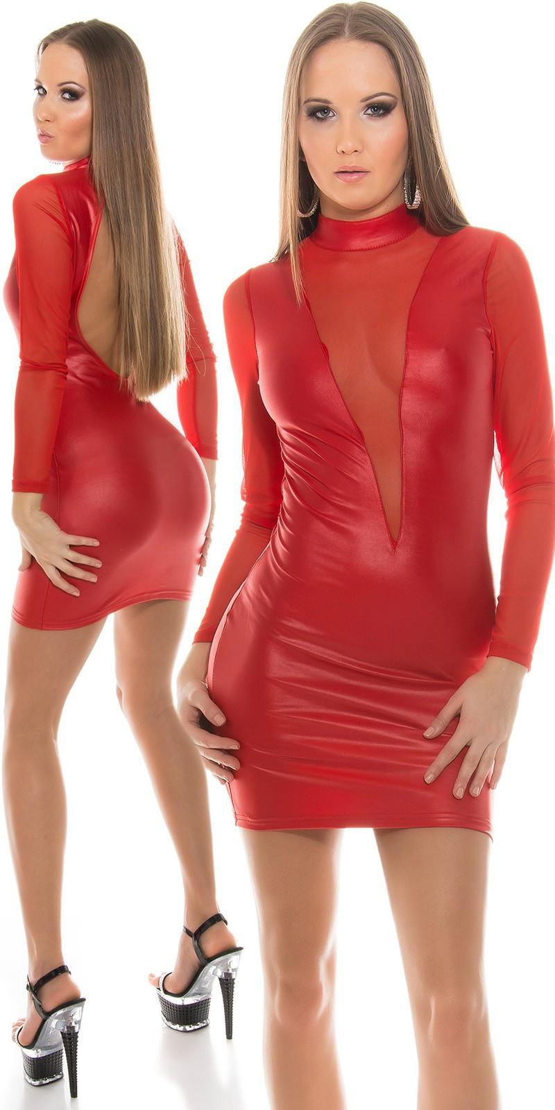 d0261d2240 Merész kivágású hálós betétes női miniruha - Piros (S/M ...