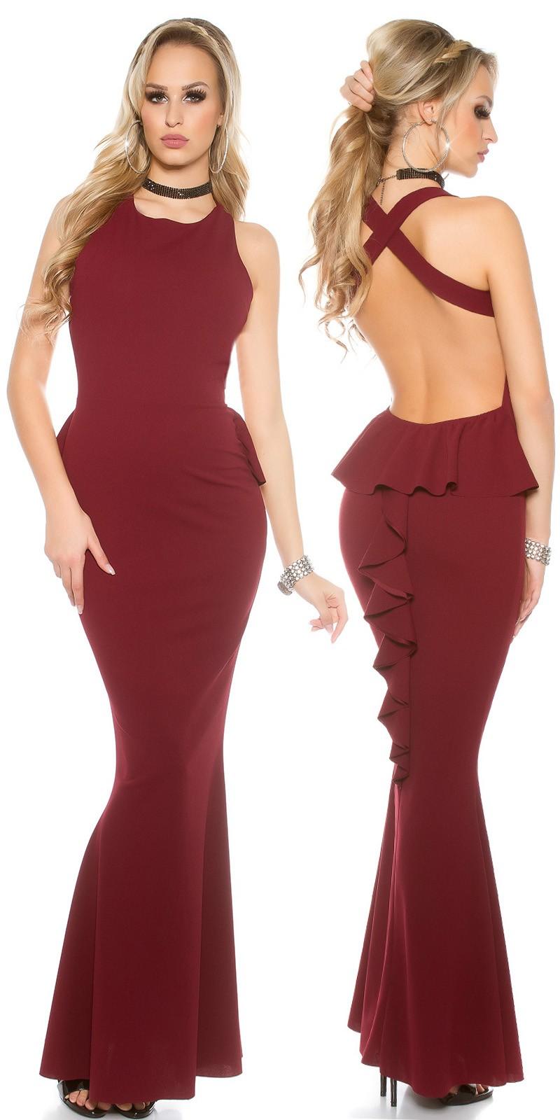 331d89f8d1 Nyitott hátú fodros női hosszú alkalmi ruha estélyi ruha - Bordó Onesize