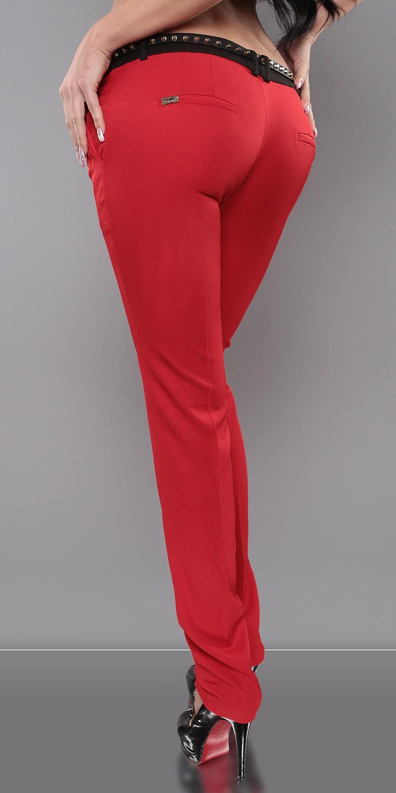 Elegáns női kosztüm nadrág övvel - Piros (40-42). Az Ön értékelése  f855be0f6e
