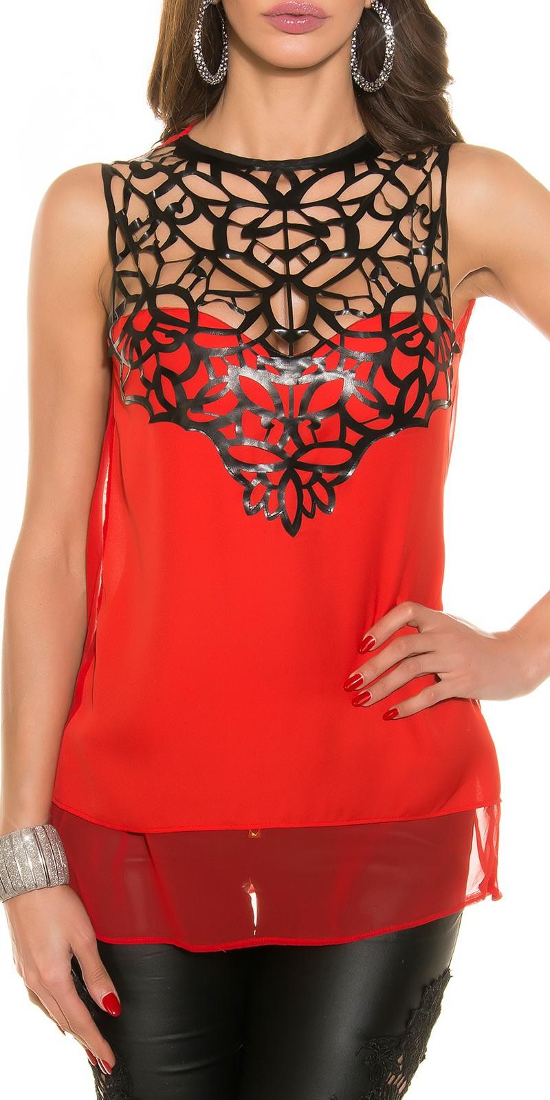 Nyitott hátú csinos női blúz bőrhatású dísszel - Piros (S fed8b5db82