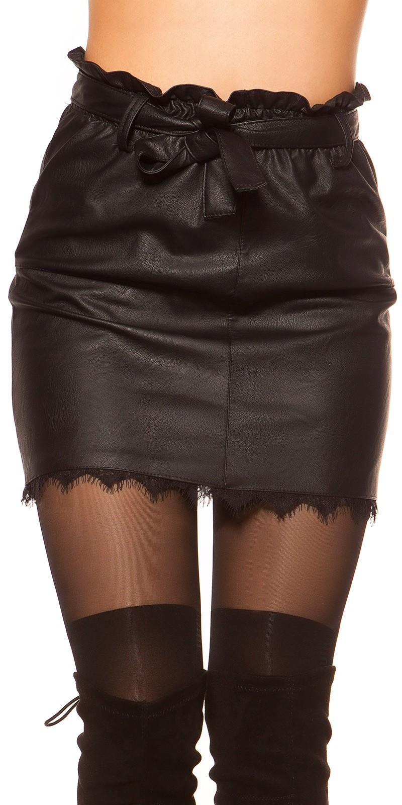 Bőrhatású csipkés női szoknya övvel - Feketes (S-L) empty 4f2bd33ff3