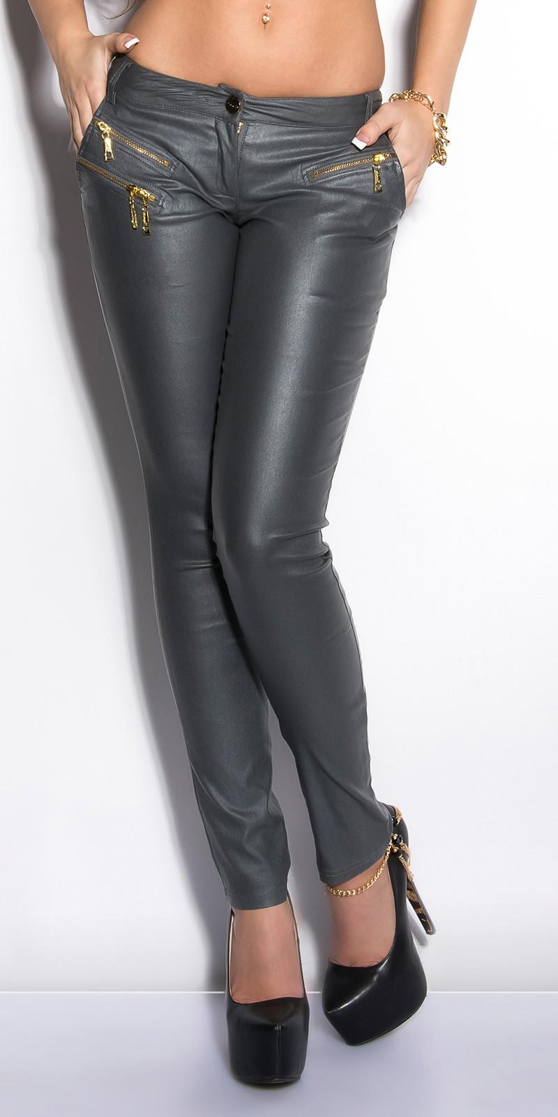 09cc0ee7a5 Bőrhatású női nadrág cipzárral - Szürke (XL). Szállítási idő: ...