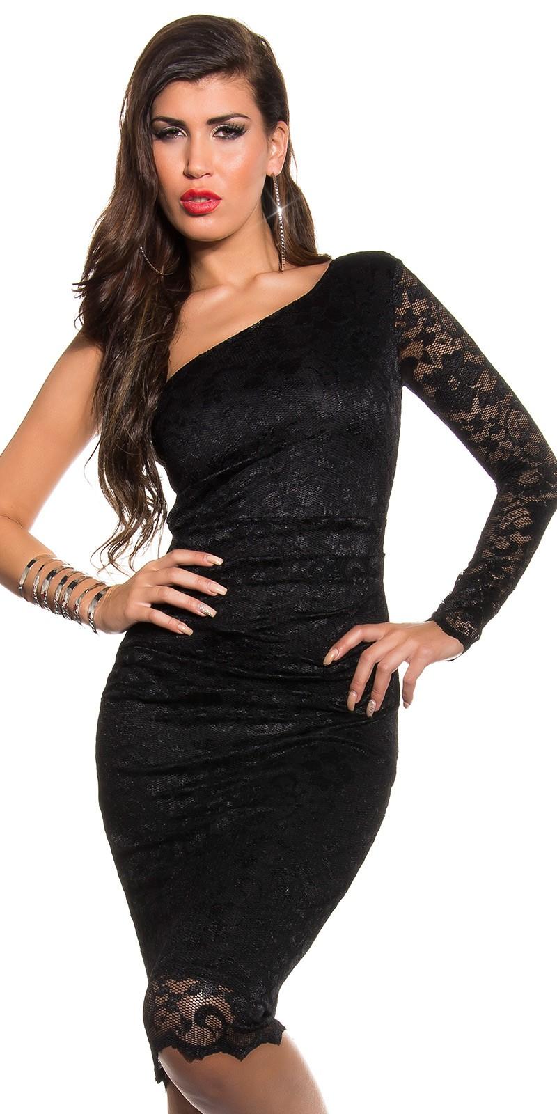 Csipkés félvállas női alkalmi ruha miniruha - fekete 38-42-ig empty 2dc9dceca5