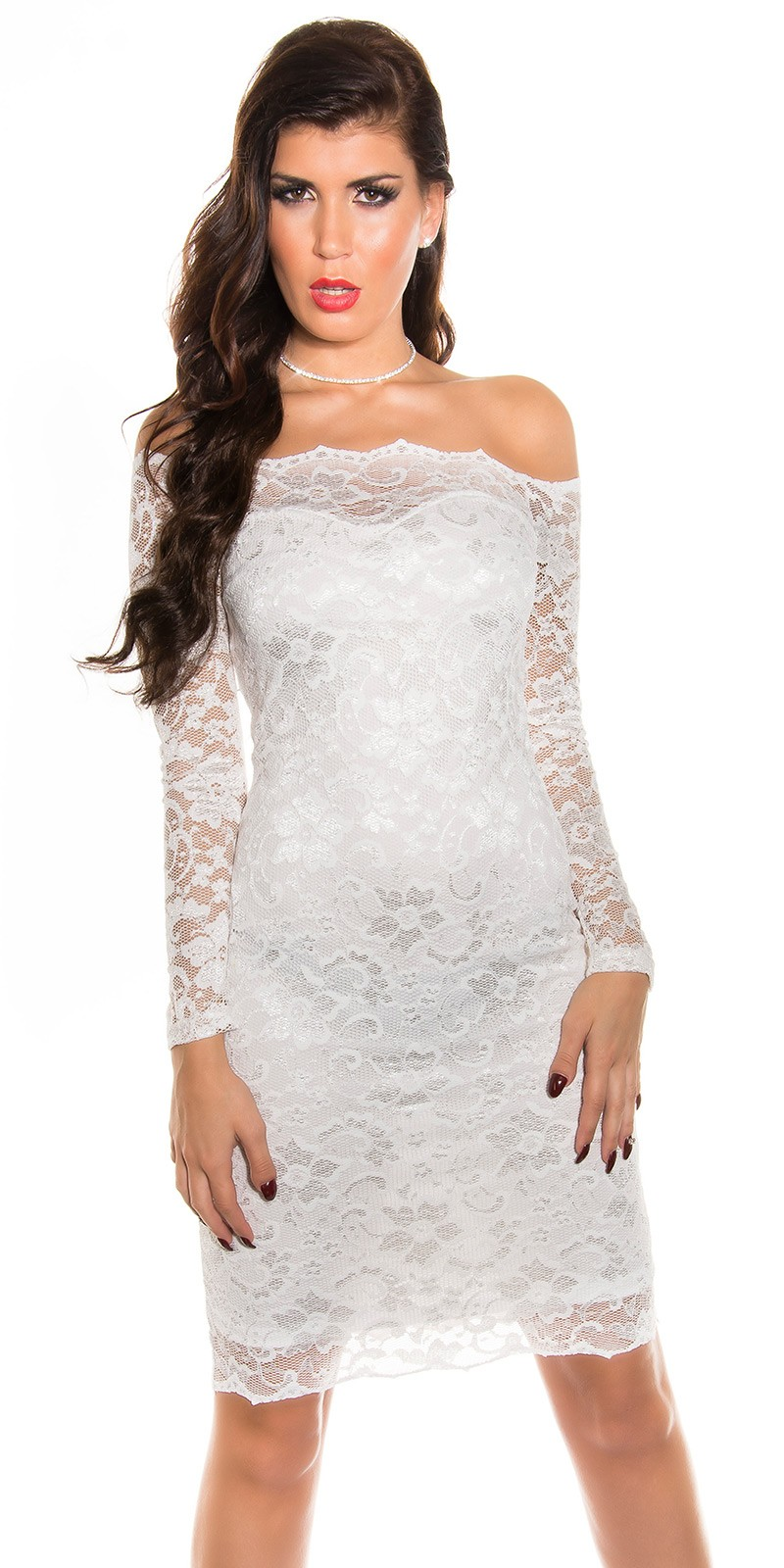 Csipke hosszú ujjú női ruha - Krém (36-42) empty 7b2e718638