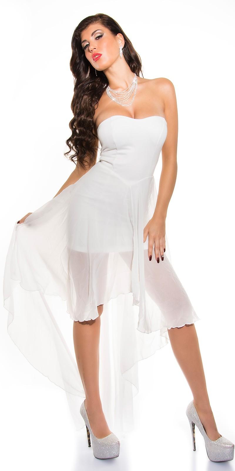 Muszlin szoknyás elöl rövid hátul hosszú női alkalmi ruha - fehér (S M 89b52f1ebf