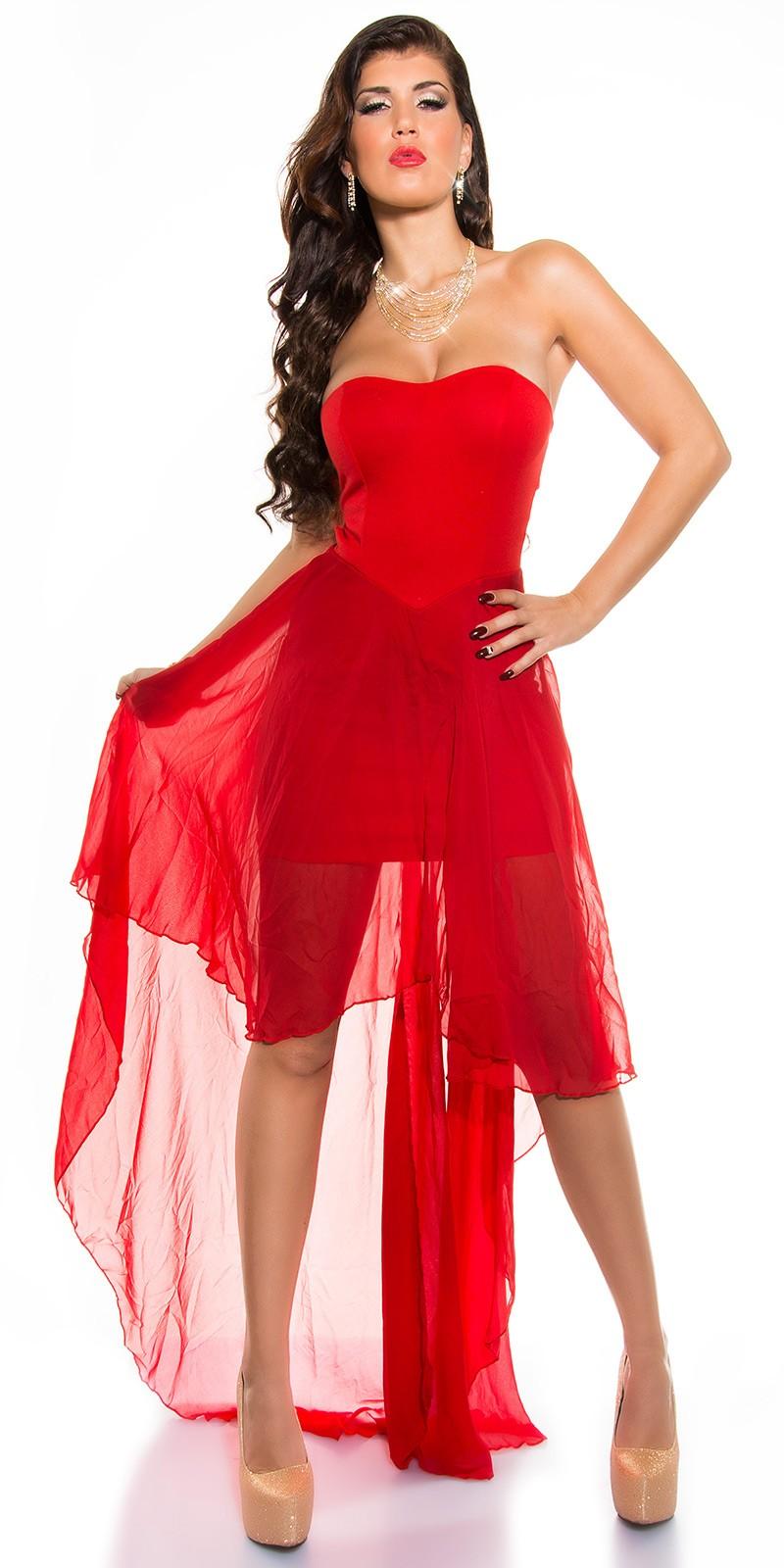 Muszlin szoknyás elöl rövid hátul hosszú női alkalmi ruha - piros (S M 47d36d7f1c