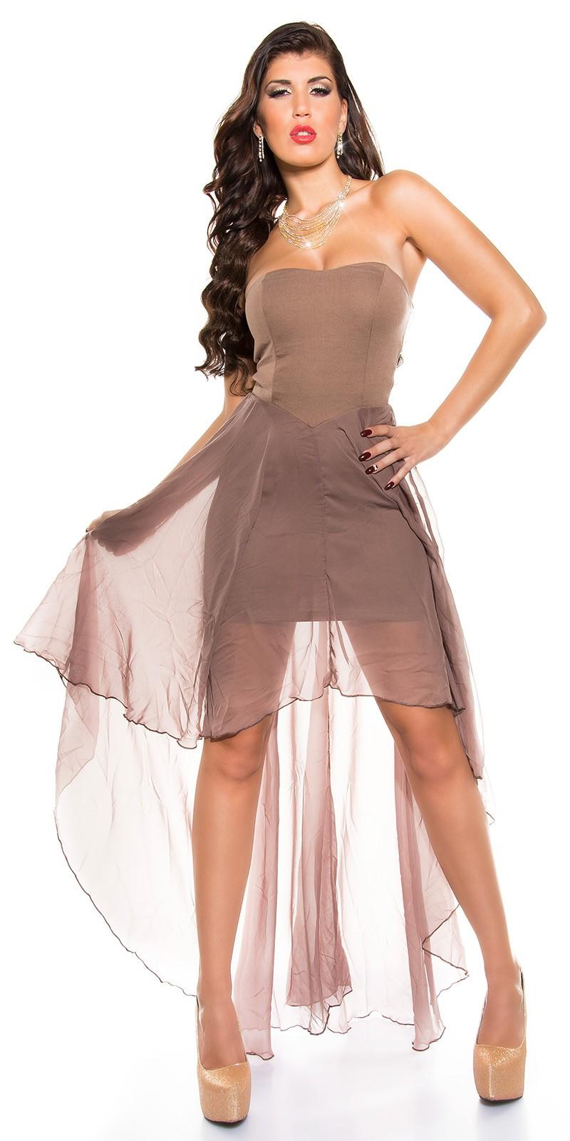 Muszlin szoknyás elöl rövid hátul hosszú női alkalmi ruha - capuccino (S M caee031147
