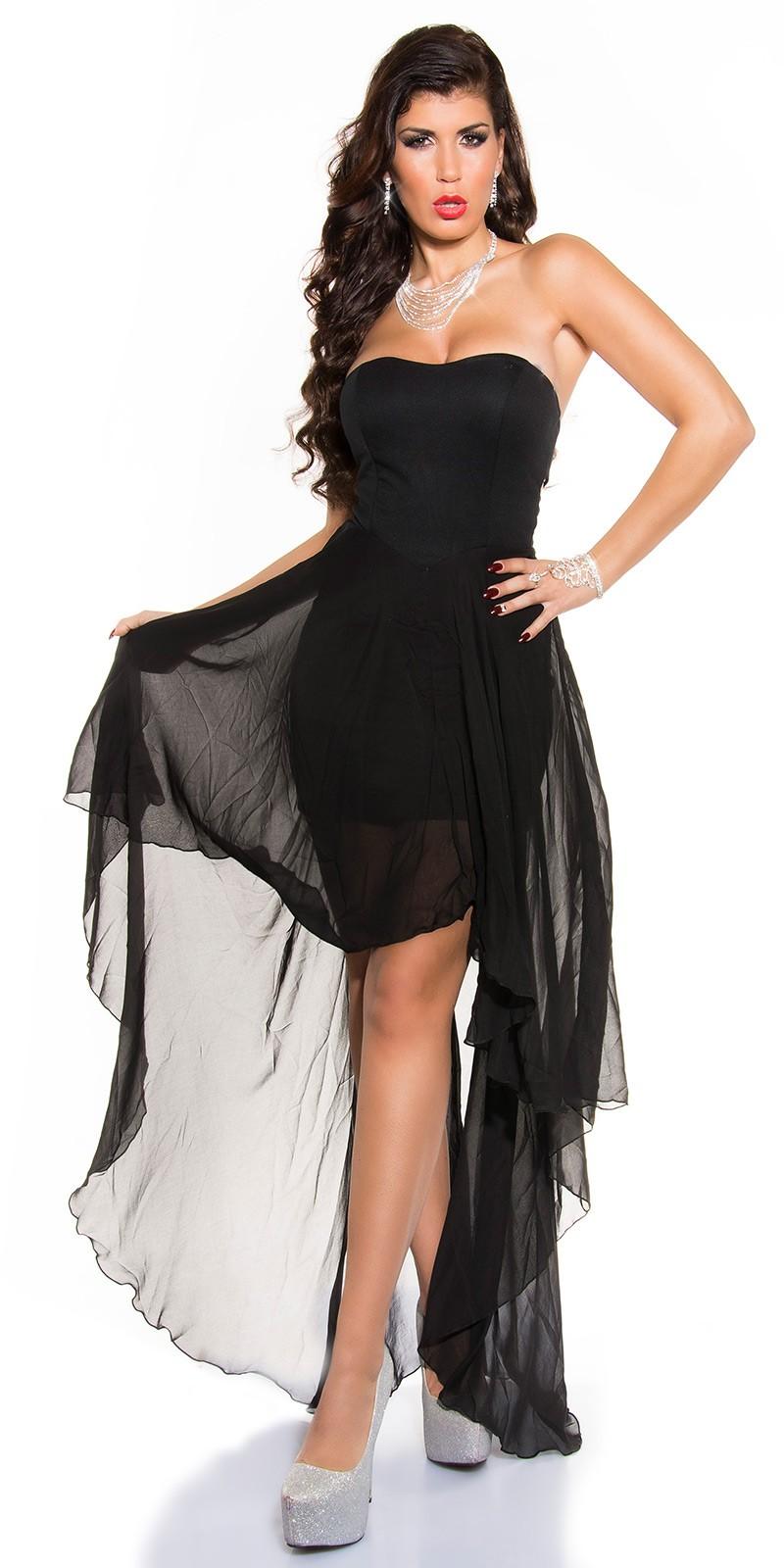 Muszlin szoknyás elöl rövid hátul hosszú női alkalmi ruha - fekete (S M 763d1d7bcc