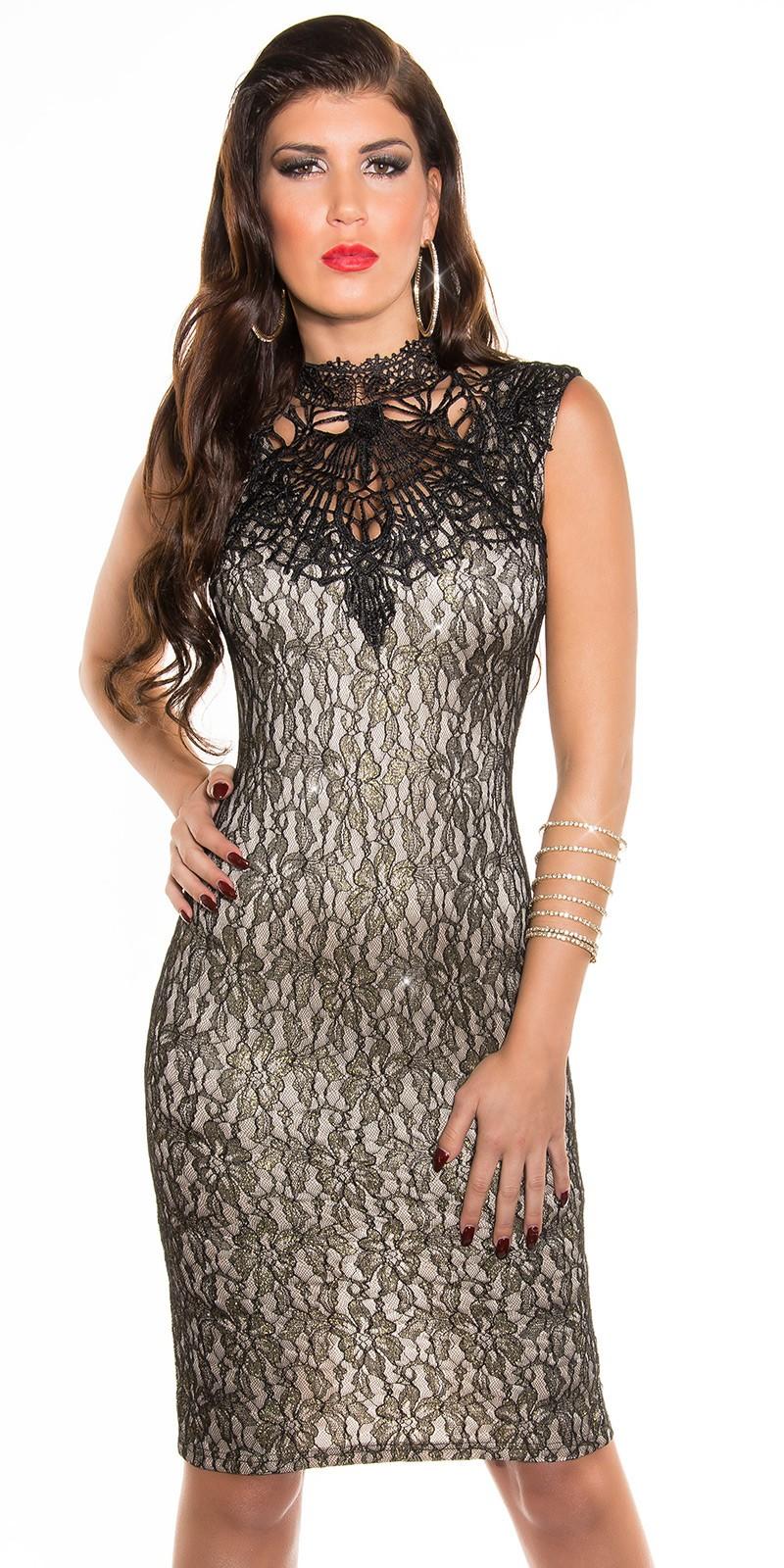Arany virágmintás csipke női alkalmi ruha horgolt nyakkal - bézs (S-L) empty e90feb35ef