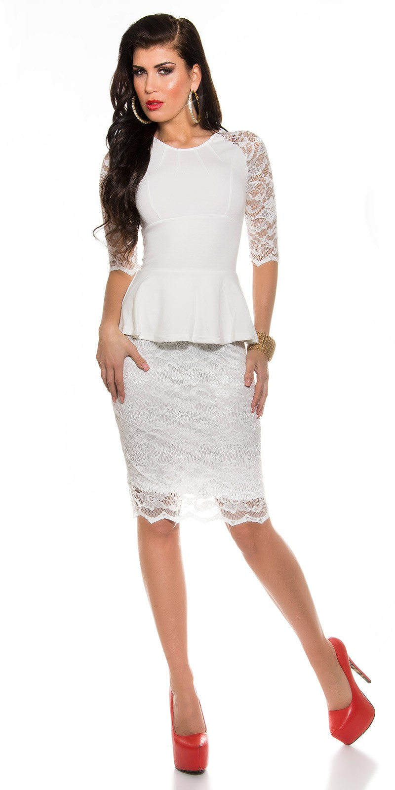 Elegáns peplum - csipke női ruha - Fehér (36-40) empty ee5d0bfd30