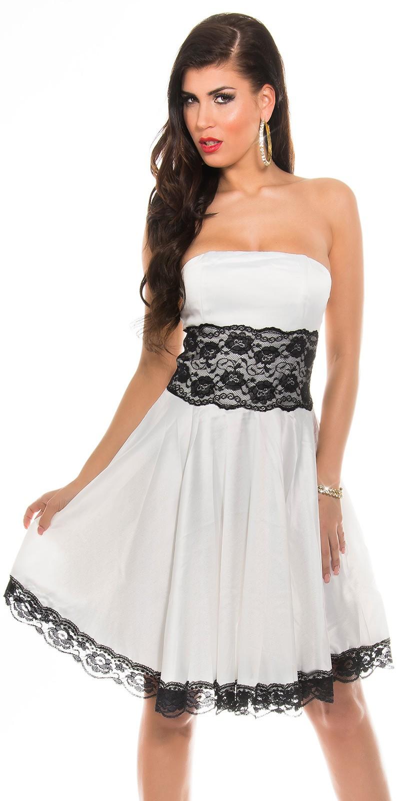 Fekete csipke rátétes alkalmi ruha - fehér (38 9ee3a68eba
