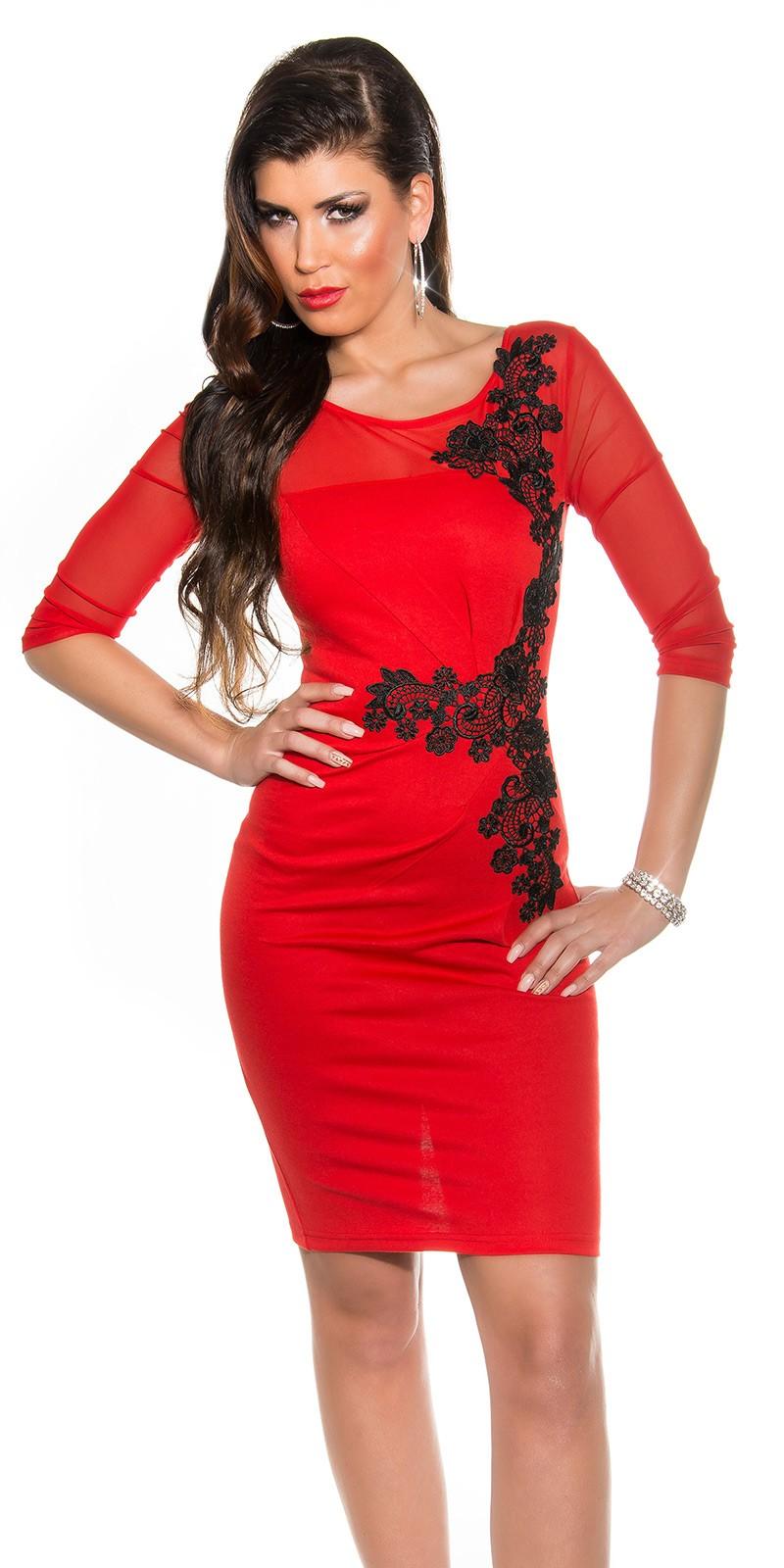 ef6168ec57 NŐI RUHA   Fekete horgolt csipke díszítésű női alkalmi ruha - Lazac ...
