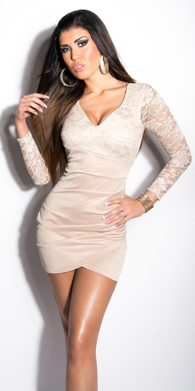 c22a309384 Csipke ujjú, mellrésznél csipkés átlapolt csinos alkalmi ruha - Bézs ...