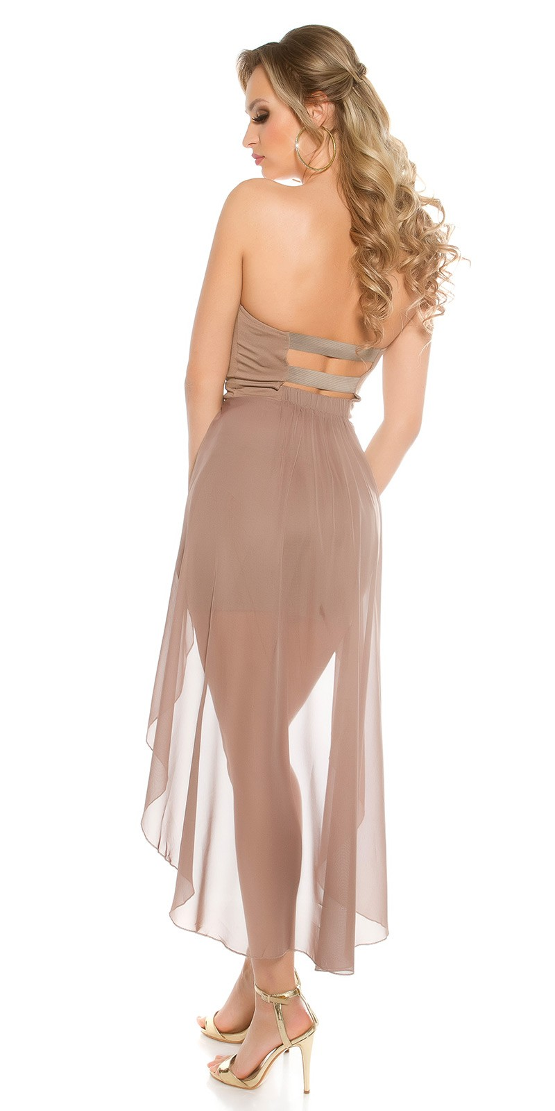 bee05e7693 Muszlin rátétes női alkalmi ruha - Capuccino (M-L). Az Ön értékelése:  Köszönjük az értékelést!