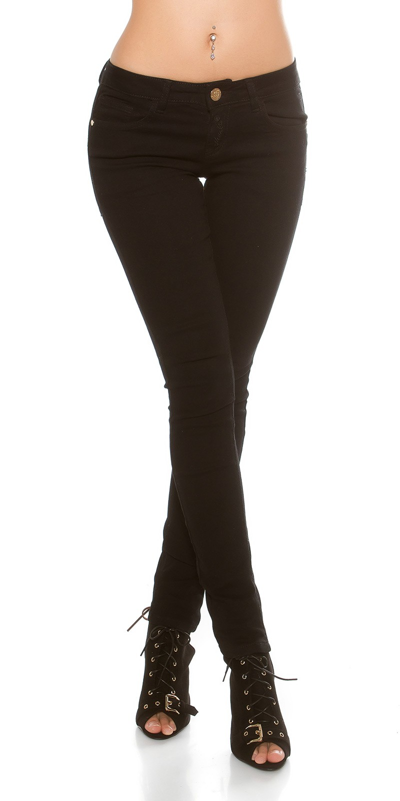 f6bb5fc511 Fűzős push up skinny női farmer - Fekete (38) | Mysticfashion női ...