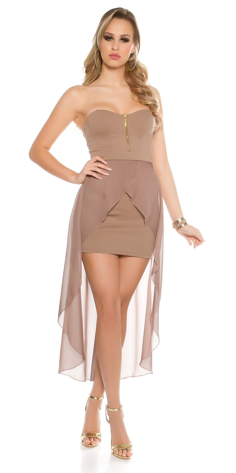 61cadd637a NŐI RUHA   Muszlin rátétes női alkalmi ruha - Capuccino (M-L ...