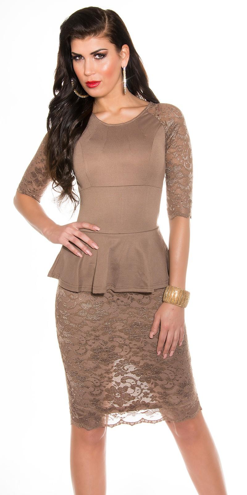 Elegáns peplum - csipke női ruha - Capuccino (36-40). Az Ön értékelése  8d52698c82