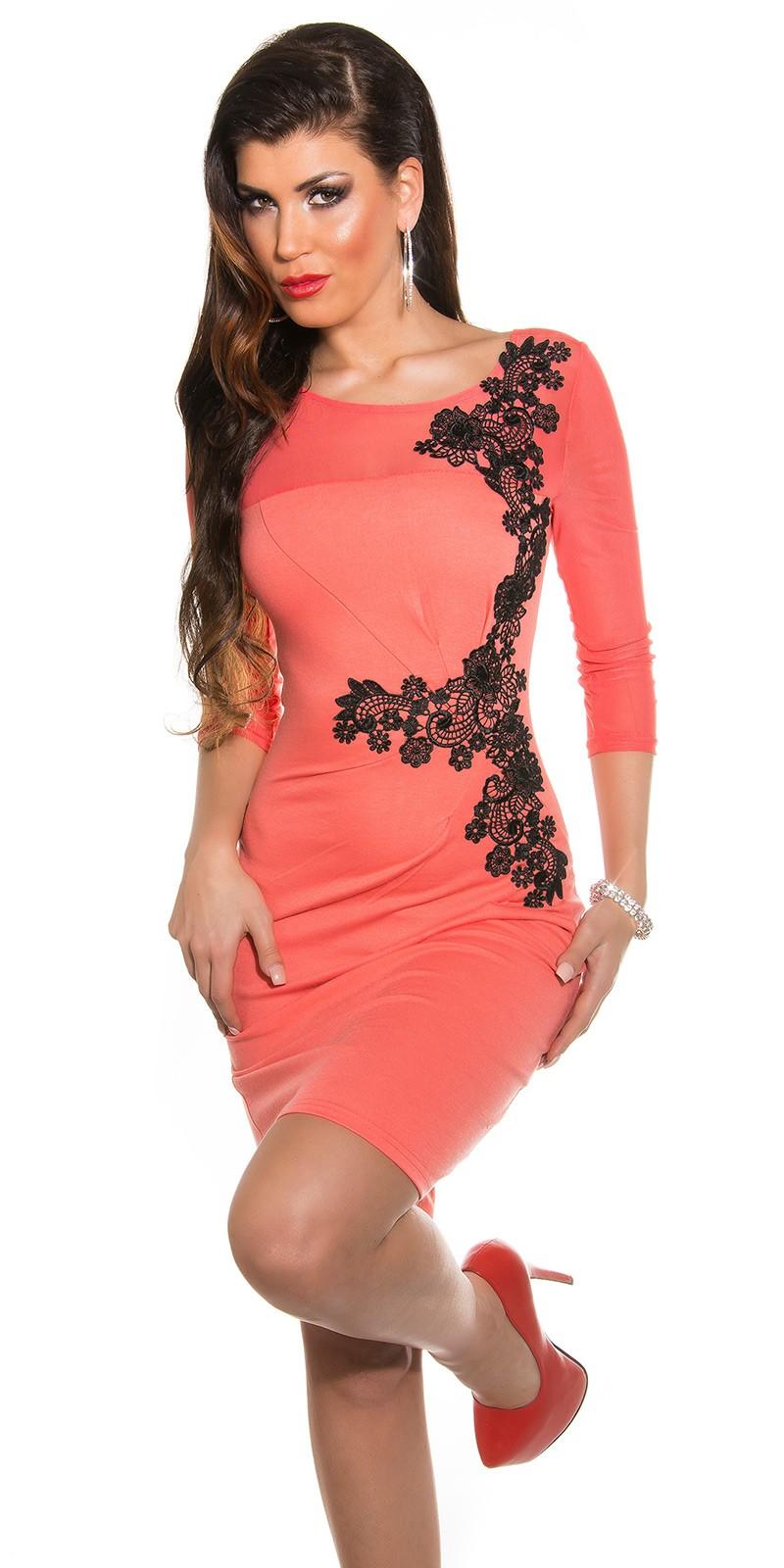 Fekete horgolt csipke díszítésű női alkalmi ruha - Lazac (36-42). Az Ön  értékelése  2b834218ea