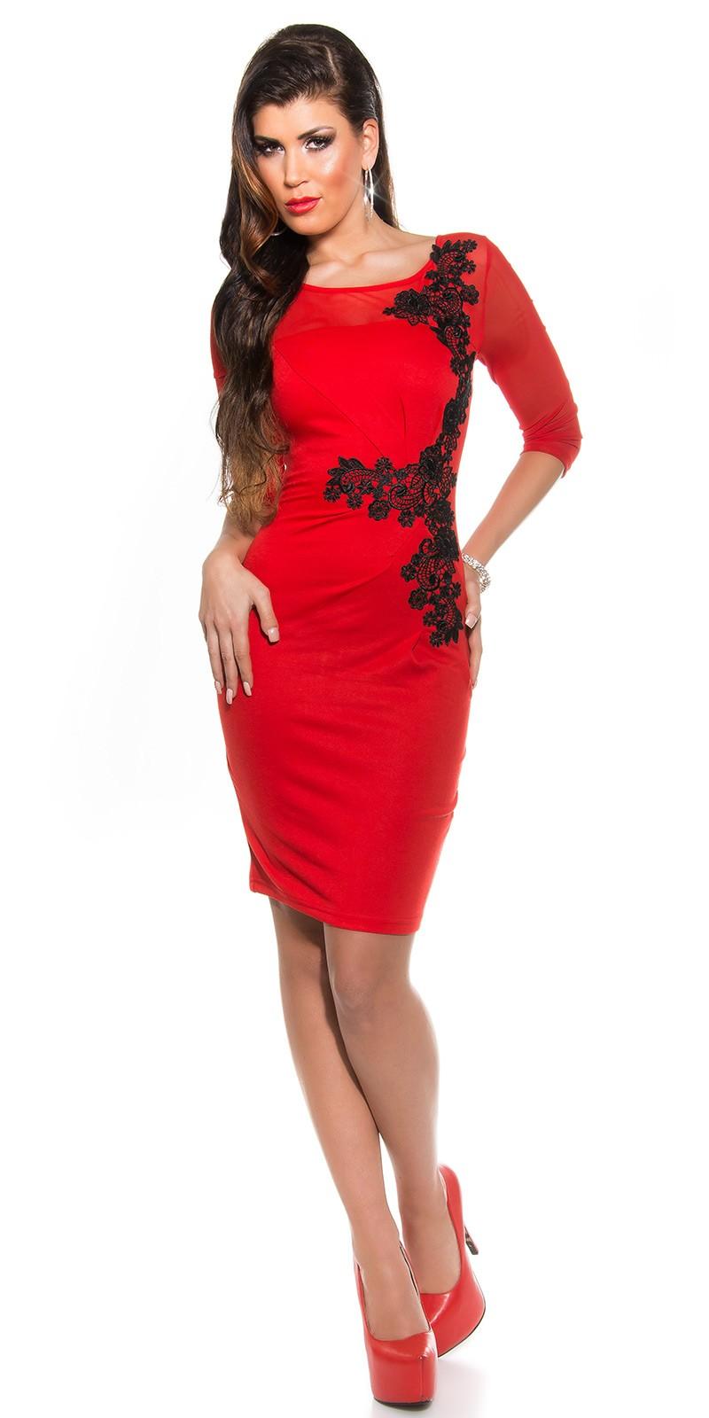 Fekete horgolt csipke díszítésű női alkalmi ruha - Piros (36-42). Az Ön  értékelése  74cf0d925a