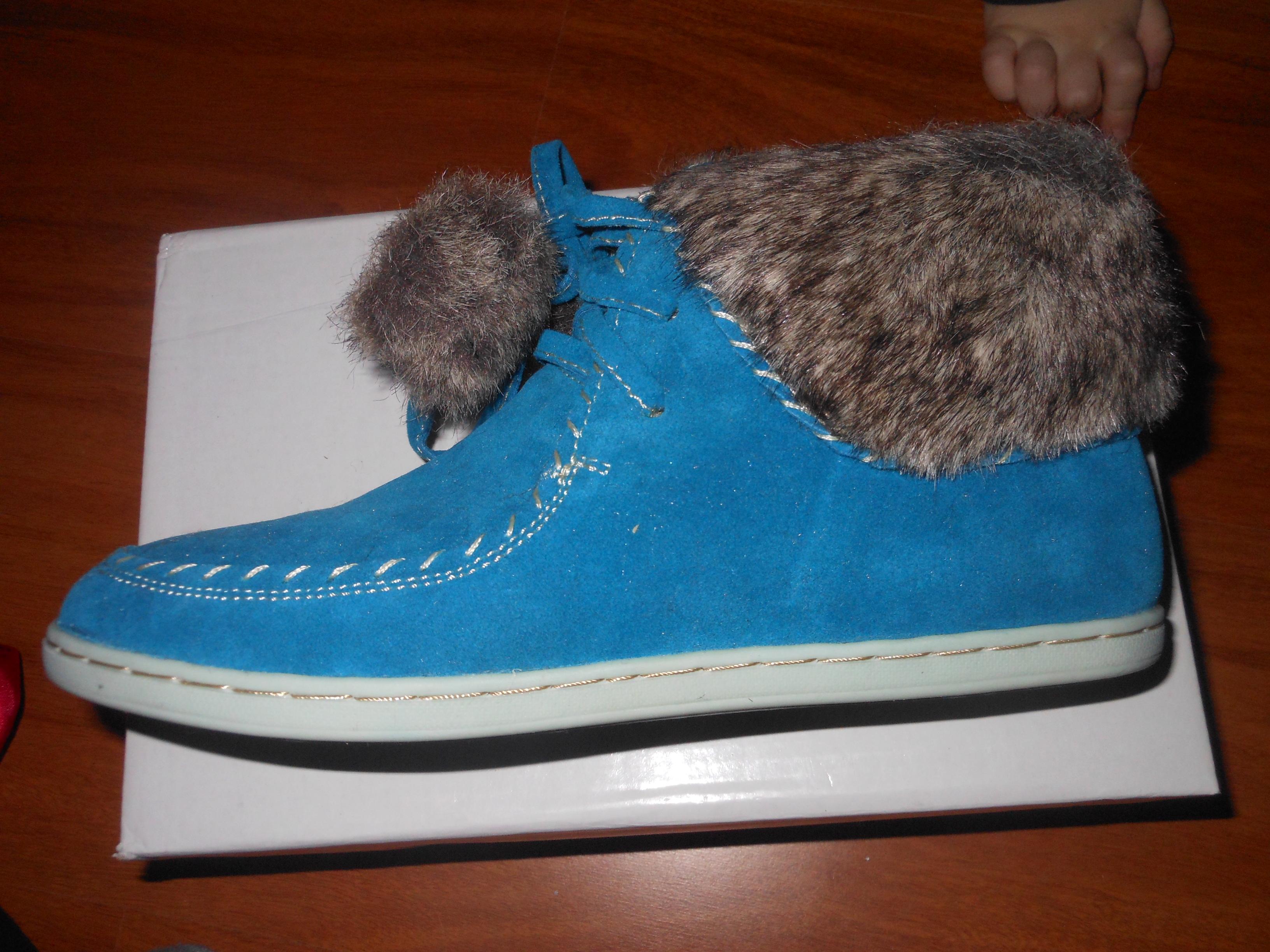 1b06f9e171 RAKTÁRON   Szőrmés színű női cipő - Kék (36)   Mysticfashion női ...