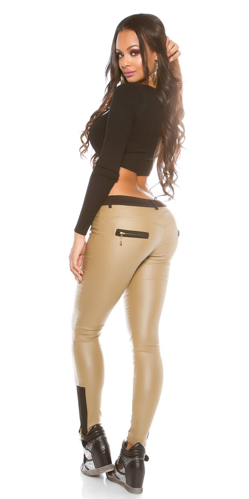 e6ae6c6d1b NŐI RUHA   Bőrhatású női nadrág fekete betétekkel - (M-XL ...