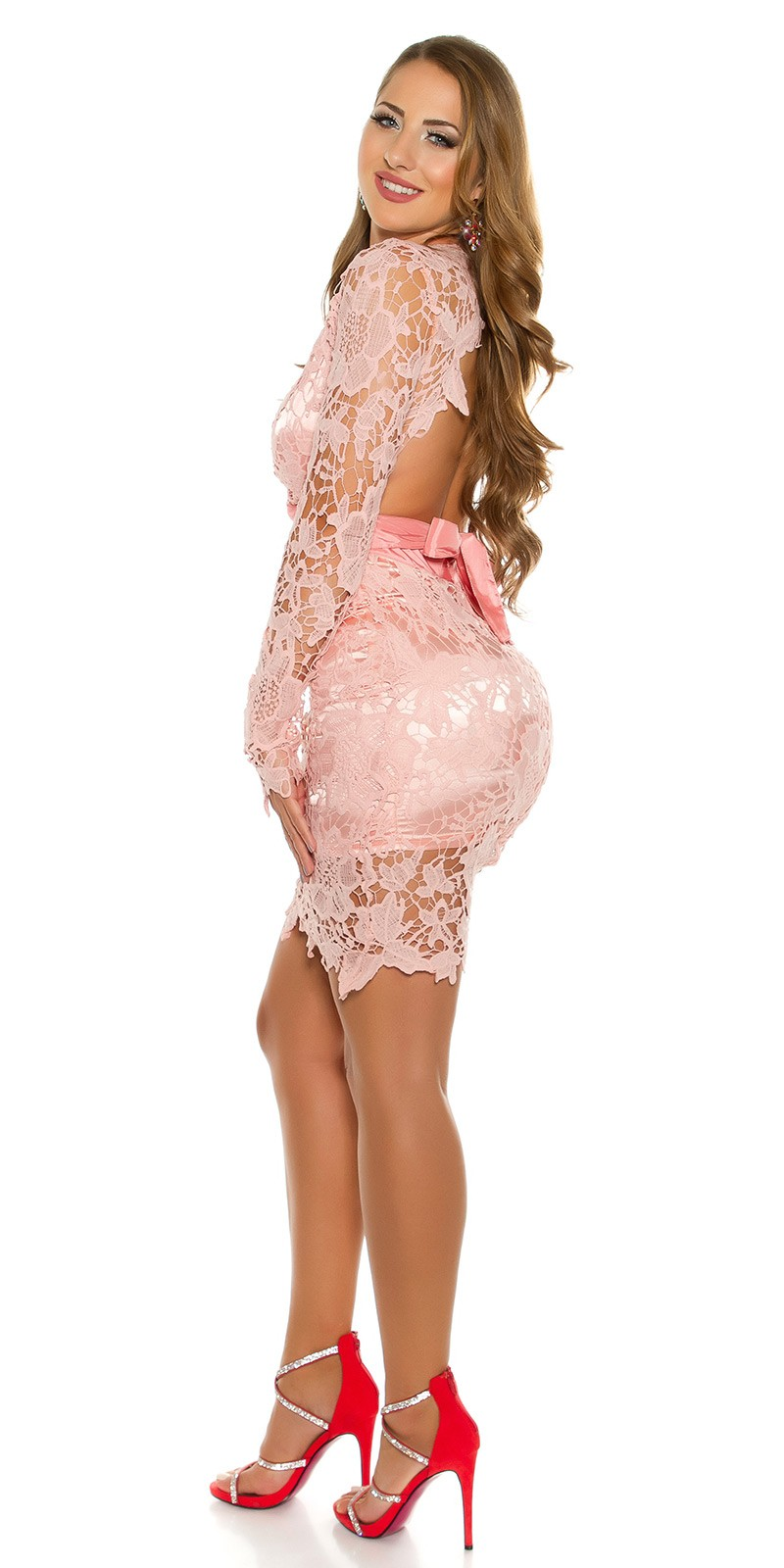 1e4623bd2f NŐI RUHA | Csipkés női party ruha - Rózsaszín (S-L) | Mysticfashion ...
