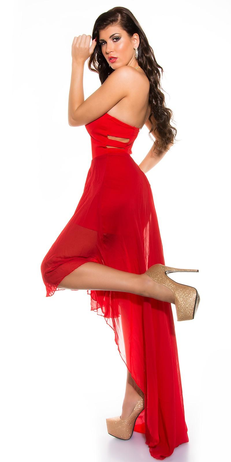 0f17f927b8 Muszlin szoknyás elöl rövid hátul hosszú női alkalmi ruha - Piros (S/M,. Az  Ön értékelése: