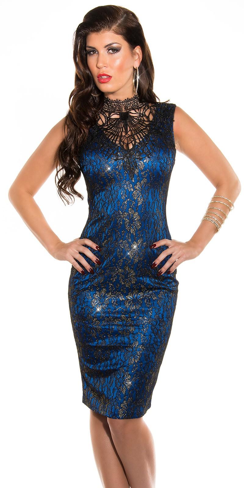 7785e3daff Arany virágmintás csipke női alkalmi ruha horgolt nyakkal - Kék (S-L). Az  Ön értékelése: