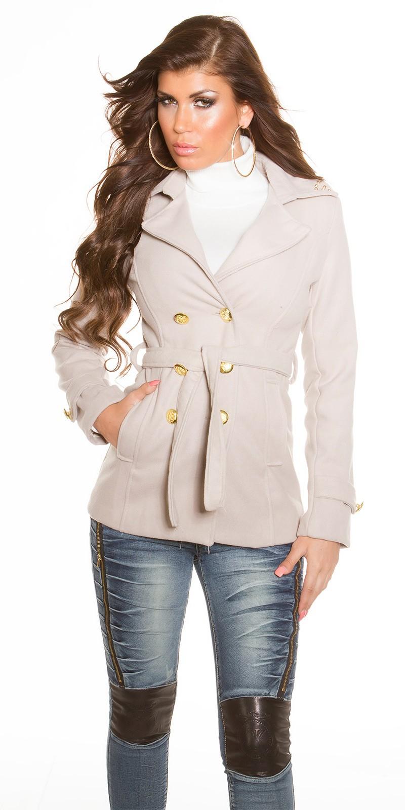 c2fa695d96 RAKTÁRON   Trendi kabát övvel - Bézs (S-XL)   Mysticfashion női ruha ...