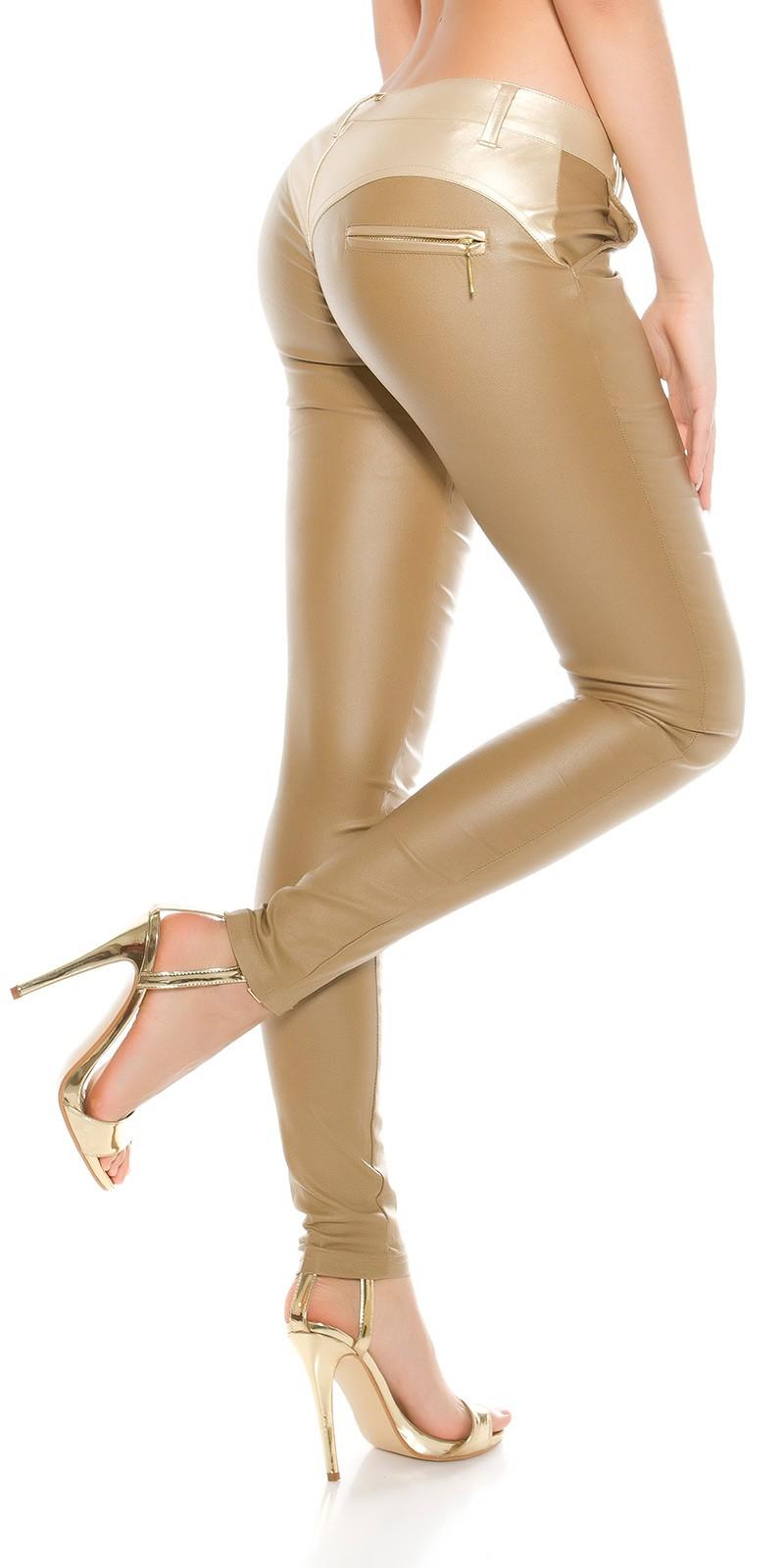 Bőrhatású és szövet kombinációs női nadrág - Fehér (M-XL). Az Ön értékelése  1fbd238915