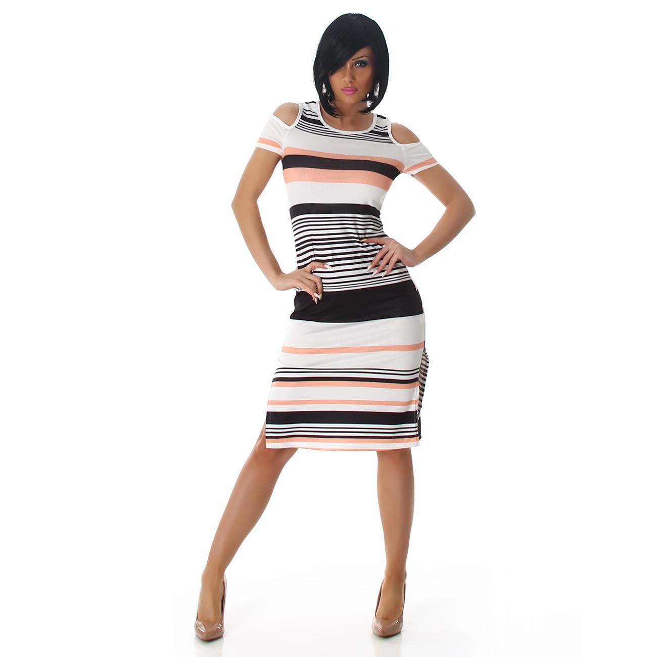 916d25facc NŐI RUHA | Nyitott vállú csíkos női ruha - (40) | Mysticfashion női ...