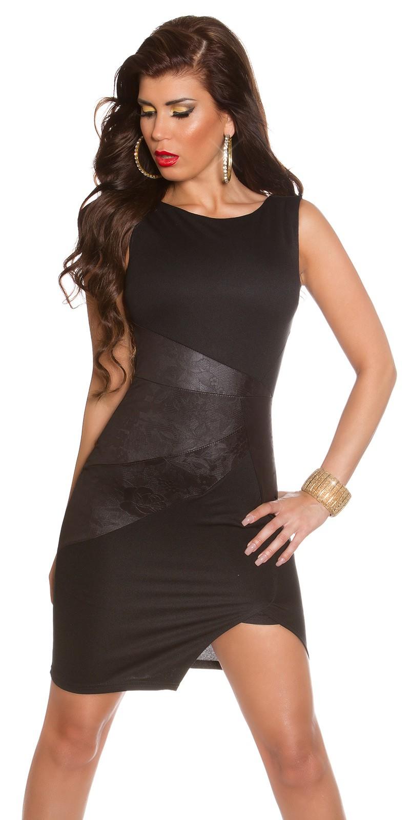 Csinos női ruha bőrhatású betéttel - Fekete (38-42) empty 9d5d95fd3f
