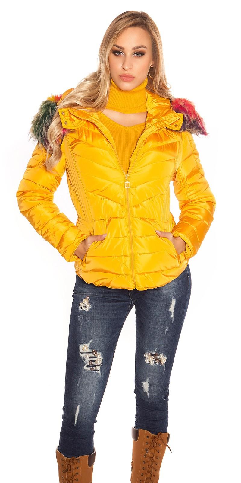 9ae65203b6 Színes műszőrme kapucnis női télikabát - Mustár (XXL). Az Ön értékelése: