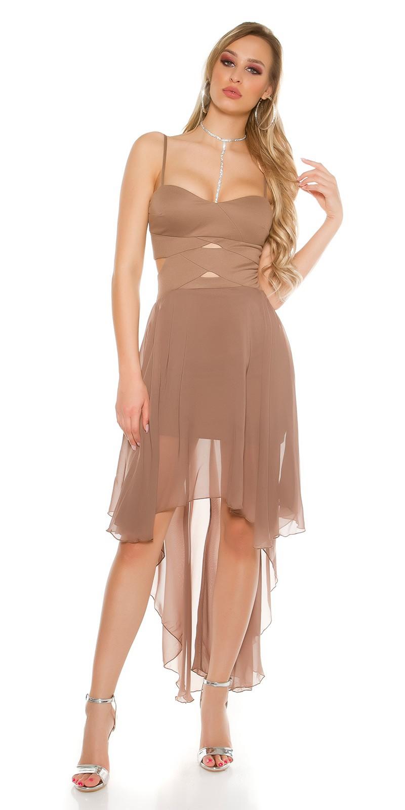 af9163ee09 Elöl rövid-hátul hosszú muszlin szoknyás alkalmi ruha - Capuccino (S/M,. Az  Ön értékelése: